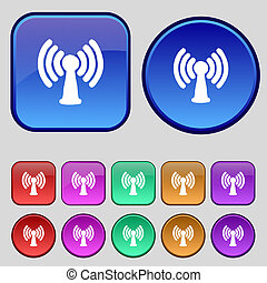 Wi-fi, internet icon sign. A set of twelve vintage buttons for your design.