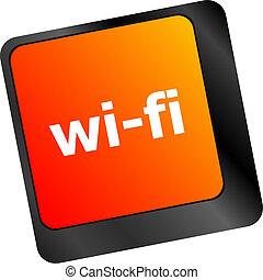 wi-fi, knoop, op, computer toetsenbord