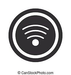 wi-fi, noir, rond, signe