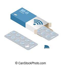 wi-fi, pílulas, em, pack., tabuletas, em, box., natural, produtos, para, sem fios, transmissão, de, internet., wifi, pill., tecnologia, medicine., médico, drogas