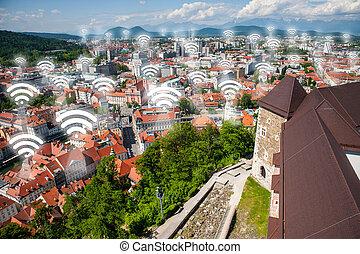 Wi-fi points, concept in Ljubljana, the capital of Slovenia