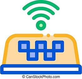 wi-fi, présence, taxi, ligne, vecteur, icône, illustration