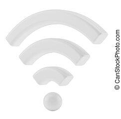 wi fi, radiowy, sieć, symbol, 3d, przedstawienie