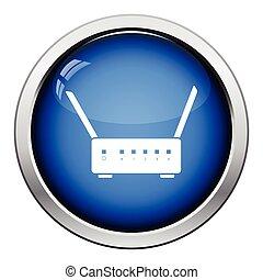 Wi-Fi router icon. Glossy button design. Vector...