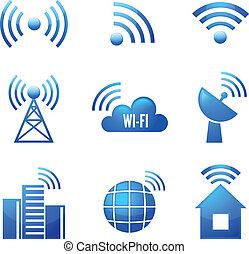 wi-fi, set, glanzend, iconen