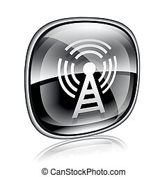 WI-FI tower icon black glass, isolated on white background