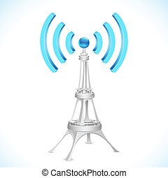 illustration of communication tower with wi-fi wave
