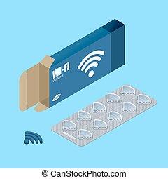 wi fi, vitamins., tabuletas, em, pack., natural, produtos, para, sem fios, transmissão, de, internet., wifi, pill., tecnologia, medicine., médico, drogas