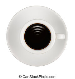 Waves like Wi-fi sign in cup of coffee isolated on white background