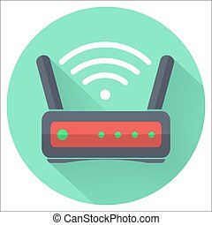 Wi fi wireless router web icon in flat style