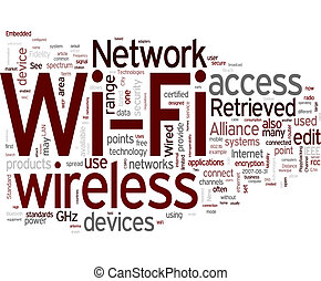 Wi-Fi word cloud on white background