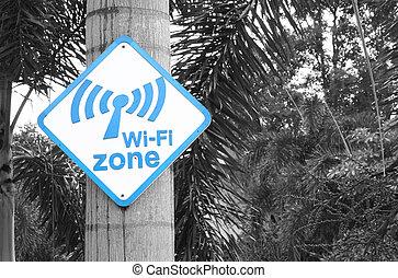 wi-fi, zona, segno, su, albero