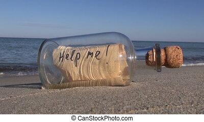 wiadomość, beac, butelka, ocean
