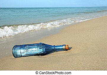 wiadomość, brzeg, butelka