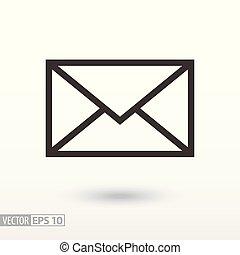 wiadomość, płaski, icon., znak, koperta