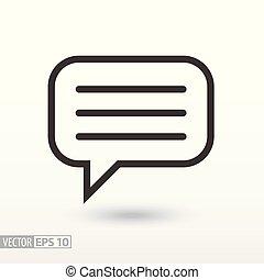 wiadomość, płaski, icon., znak, wiadomość