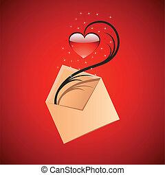 wiadomość, pojęcie, miłość, ilustracja