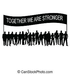 wiadomość, sylwetka, razem, ludzie