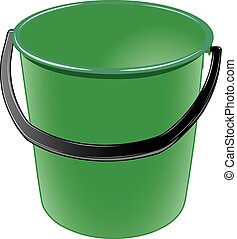 wiadro, czarnoskóry, rączka, zielony, plastyk