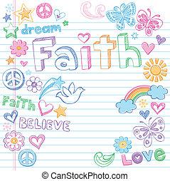 wiara, &, gołębica, sketchy, doodles, wektor