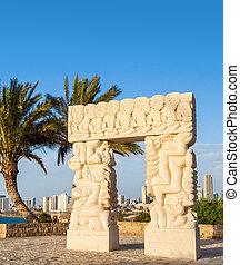 wiara, izrael, stary, yaffo, park, abrasha, statua