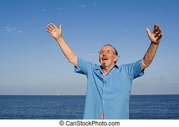 wiara, podniesiony, chrześcijanin, herb, chwalić, starszy człowiek, szczęśliwy