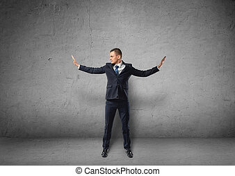 wiara, własny, rzutki, walls., jego, niewidzialny, cutout, siła, człowiek