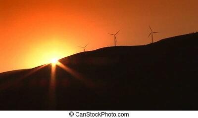 wiatr turbiny, zachód słońca