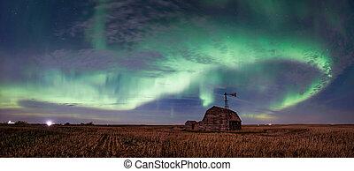 wiatrak, ścierń, północny, skrzynie, rocznik wina, na, saskatchewan, światła, jasny, wir, stodoła, kanada