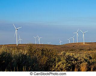wiatrak, góra, zmierzch, zagroda, niezależnie, szosa, międzystanowy