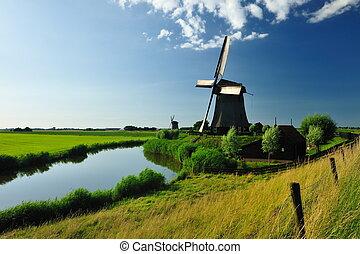 wiatrak, holandia, krajobraz