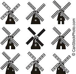 wiatrak, ikony, wektor, komplet, czarnoskóry, biały