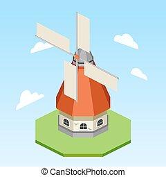 wiatrak, isometric, wektor, ilustracja