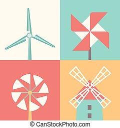 wiatrak, płaski, linearny, energia, icons., wektor, ilustracja, rysunek, wiatr
