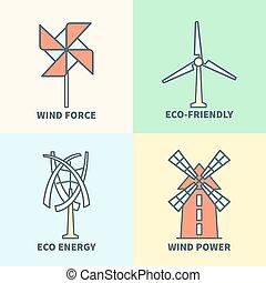 wiatrak, siła, linearny, eco, energia, przyjacielski, znaki, do podtrzymania, logo, set., wiatr