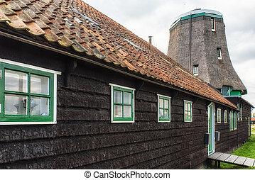 wiatrak, tradycyjny, stary, Drewniany, muzeum, od, -,...