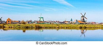 wiatrak, zaanse, holandia, panorama, tradycyjny, Wieś,...