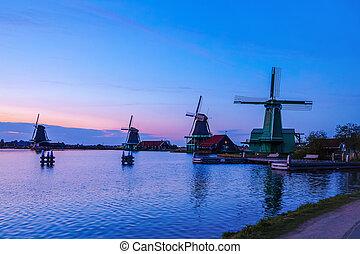 wiatraki, wieczorny,  zaandam,  zaan, Holenderski, Rzeka