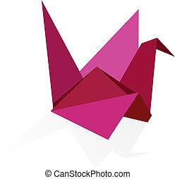 wibrujący, kolor, origami, łabędź