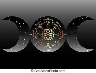 wiccan, celtique, noms, festivals., symbole, cycle, année ...