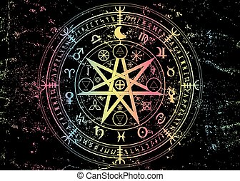 Wiccan symbol of protection. Mandala Witches runes, Mystic Wicca divination. Boho style Colorful Ancient occult symbols, Earth Zodiac Wheel of the Year Astrological signs, vector isolated or black