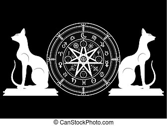 Wiccan symbol of protection. Set of Mandala Witches runes and black cats, Mystic Wicca divination. Ancient occult symbols, Earth Zodiac Wheel of the Year Wicca Astrological signs, vector isolated