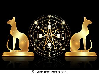 Wiccan symbol of protection. Set of Mandala Witches runes and golden cats, Mystic Wicca divination. Old Ancient occult symbols, Earth Zodiac Wheel of the Year Wicca Astrological signs, vector isolated