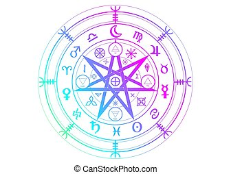 Wiccan symbol of protection. Set of Mandala Witches runes, Mystic Wicca divination. Ancient occult symbols, Earth Zodiac Wheel of the Year Wicca Astrological signs, colorful vector isolated on white