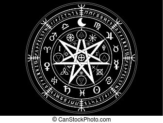 Wiccan symbol of protection. Set of Mandala Witches runes, Mystic Wicca divination. Ancient occult symbols, Earth Zodiac Wheel of the Year Wicca Astrological signs, vector isolated or black background