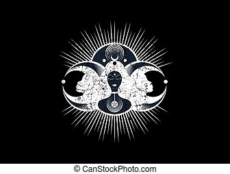 Wiccan woman icon, Triple goddess symbol of moon phases. Hekate, mythology, Wicca, witchcraft. Triple Moon Religious Wiccan sign. Logo Neopaganism symbol. Crescent, half and full moon, vector isolated
