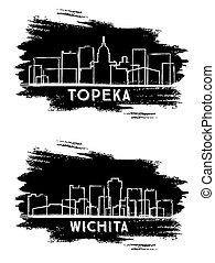 Wichita and Topeka Kansas USA City Skylines Silhouette. Hand Drawn Sketch.