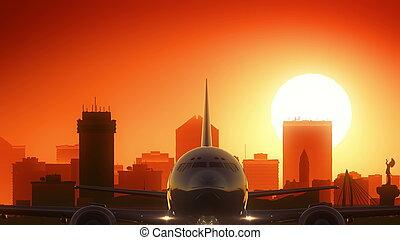 Wichita Kansas USA America Skyline Sunrise Take Off