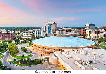 Wichita, Kansas, USA downtown skyline at dusk