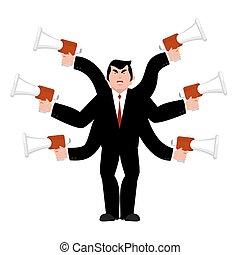 wicked., donner, lotissements, megaphone., gronde, patron, directeur, chef, vecteur, par, illustration, homme affaires, bullhorn., instructions., ordres, hands.